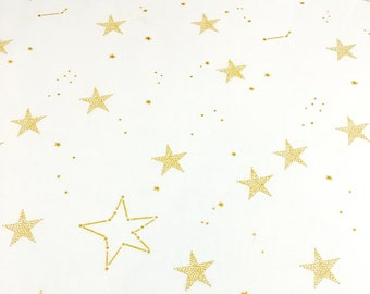 Gold Geo Star on White Fabric - Premium Michael Miller Magic Collection 100% Cotton Quilting Fabric by the Yard