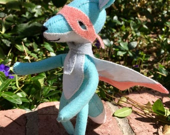 Super Fox--Blue Fox Toy--Poseable Fox Toy--Cynthia Treen Fox Design--Wooley Cute Fox Toy--woodland fox toy--handmade fox--collectible fox