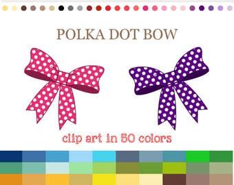 50 Colors Digital POLKA DOT BOW Clipart Gift Bow Clip Art Rainbow Bow Clipart Bows Printable Digital Polka Dot Bows Instant Download #C009