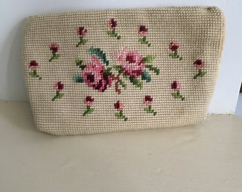 Vintage 1940's Needlepoint Cosmetic Bag