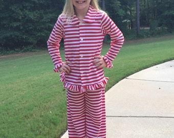 Christmas Pajamas - Red Striped Christmas Pajamas - Ruffled Pajamas - Boys Pajamas - Girls Pajamas - Monogrammed Pajamas
