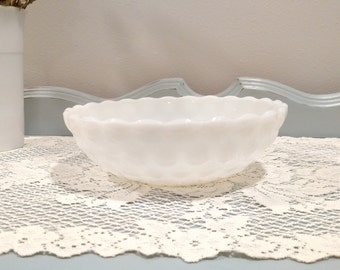 Cute Vintage Shabby Chic Milk Glass Serving bowl - Hobnail Design with Scalloped Edges
