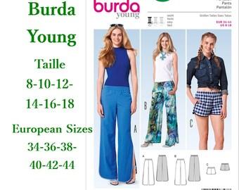 Burda, 6797, Pants, semi-fitted, 8-18, 3 models, 6 sizes, women, new, uncut, never used