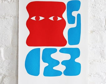 Untitled (red head with blue forms)