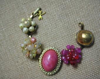 Vintage Bracelet, OOAK, Repurposed Vintage Earrings, Wedding Bridesmaid Bride, Reclaimed Upcycled Recycled, Eco Friendly, one of a kind/6