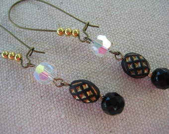 upcycled vintage earrings dangle drop recycled reclaimed repurposed OOAK one of a kind black gold tone vintage beads eco friendly  /E92