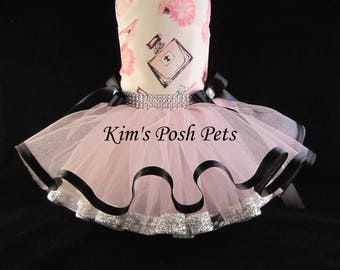 Dog Dress _  Pink Fifth Avenue Shopping Dog Tutu Dress _ Summer _ Kim's Posh Pets