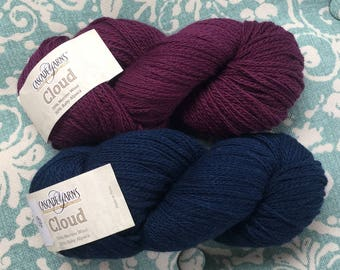 Cascade CLOUD 13.50 +1.50ea to Ship - Merino Wool & Baby Alpaca in Loganberry or Navy. Soft, Durable, Light yet Dense Chainette MSRP 17.00