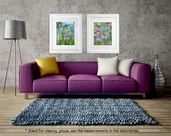 Flower painting, Abstract Floral art, Acrylic on paper, Palette knife Flowers, Modern wall art Home decor, Contemporary art, Sold in a pair.
