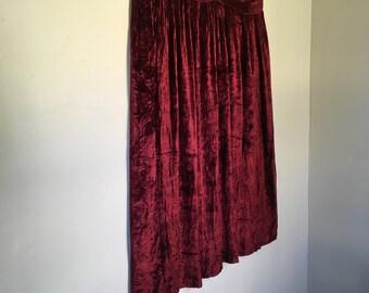 Burgundy Vintage Plus Size Crushed Velvet Midi Skirt by Westbound II