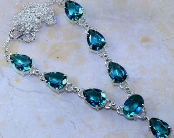 """Exceptional Faceted Prasiolite (Green Amethyst) Necklace 18 3/4"""" Princess Style"""