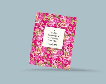 Friendship postcard, gift for mom, floral postcards, Bible postcards, quote postcard, a sweet friendship