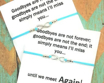 Infinity Bracelets  | Goodbyes Are Not Forever Card | Friendship Bracelets | Best Friend Gift | Silver Infinity | Gift for Friend