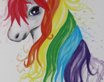 Rainbow Unicorn Watercolor