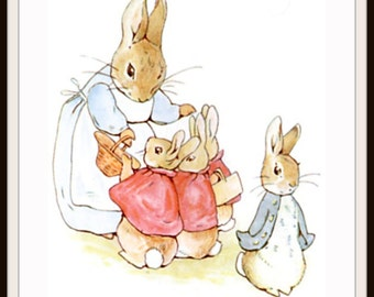 Printed Vintage Victorian Beatrix Potter Mother Rabbit and Peter Art Print Poster,  Nursery, Shower Gift, Baby's Room