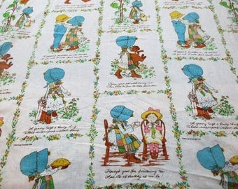 1970's  Holly Hobbie Twin Flat Sheet Fabric Crafts Quilting American Greetings