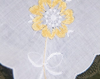 Vintage Handkerchief with Beautiful Embroidered Yellow Flowers