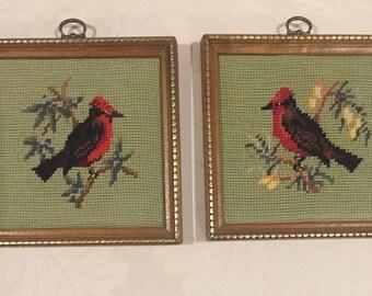 Vintage Needlepoint Cardinal Framed Pictures, Pair of Vintage Cardinal Pictures, Needlepoint Cardinal Pictures, Red Bird Needlepoint picture