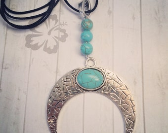 Crescent Moon Double Horn Pendant with Turquoise on Black Silk Thread Necklace