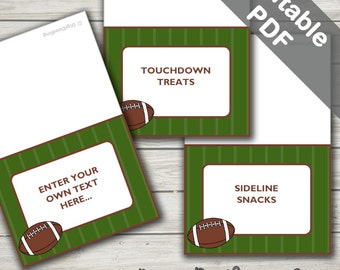 Football Party Food Labels. Tent Style Labels. Editable/Printable. Instant Download.