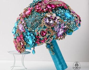 Brooch Bouquet, Bridal Bouquet, Wedding Bouquet, Broach Bouquet, Purple Bouquet, Bridesmaid Bouquet, Turquoise Bouquet, Wedding Accessories