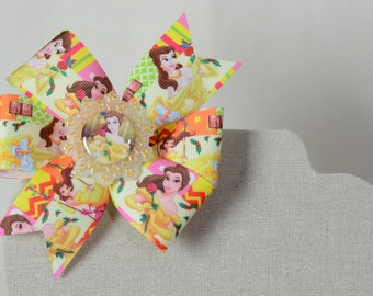Belle Basic Pinwheel Hair Bow With Image Center Piece * Beauty and the Beast *