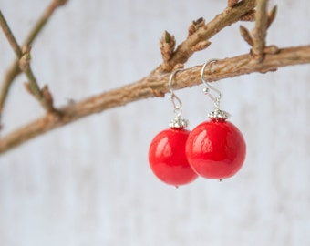 Red beaded earrings, Red dangle earrings, Red bead earrings, Red dangling earrings, Red earings, Earrings red 16mm 0.6in