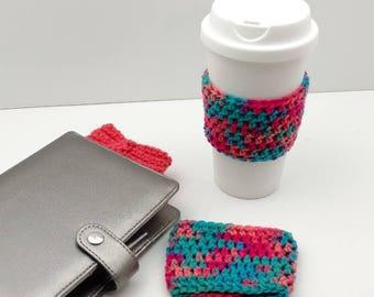 Multi-Colored Crochet Cup Cozy: Coffee/Tea Sleeve    [065]
