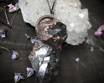 ELESTIAL - smoky quartz - copper electroformed - crystal necklace