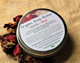 Vanilla Rose Organic Body Butter 2oz, Organic Shea Butter, Natural Skincare, Raw Shea Butter, Cocoa Butter, Coconut Oil, Natural Moisturizer