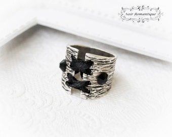 Silver Gothic Corset Ring-Silver Ring-Corset Ring-Adjustable ring-Gothic Jewelry