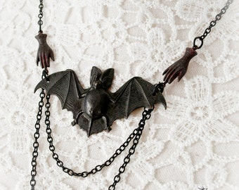 Black gothic bat necklace-bat necklace-gothic necklace-necklace with bat-black gothic jewelry