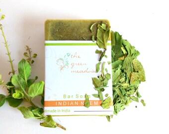3.2 Oz Indian Neem Soap - Neem, Tulsi, Haldi, Aloe Vera, Olive Oil - Soap for sensitive skin, eczema soap