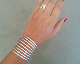 Silver Cuff Bracelet, Silver Cuff, Geometric Bracelet, Geometric Bangle, Wedding Jewellery, Bridal Jewelry, Silver Bracelet, Wedding Gift