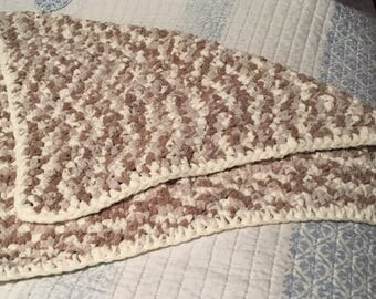 Baby Blanket  Beige tones with an  ivory boarder (roughly 2ft x 2.5 ft).