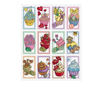 A Year in Cupcakes - Set of 12 - Durene J Cross Stitch Patterns - DJXS2201