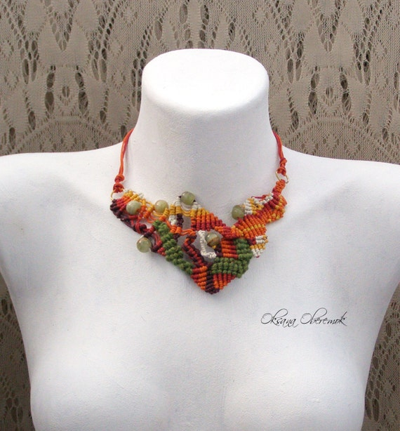 Macrame necklace Autumn necklace Orange necklace Green necklace Colorful necklace Bright necklace