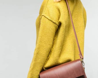 Brown leather shoulder bag, Small genuine leather satchel, Cross body bag, Minimalist handbag, gift for her
