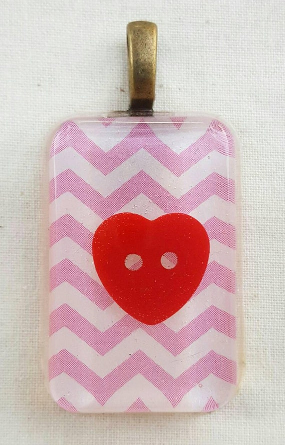 Pink chevron pendant. Red heart pendant. Resin pendant. Cute pink pendant