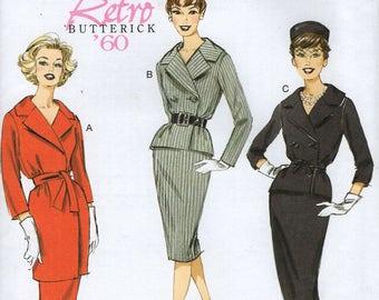 Butterick 6259 Free Us Ship Vintage Retro 1960s 60s Jackie Suit Jacket Skirt Uncut Size 6/14 14/22 Bust 30 32 34 36 38 40 42 44 plus size