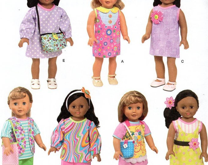 """Free Us Ship Simplicity 1713 Out of Print 18"""" Doll Clothes Wardrobe New Sewing Pattern Uncut Fits American Girl Doll"""