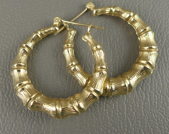 Gold Hoop Earrings, Vintage 14K Yellow Gold Bamboo Hoop Earrings