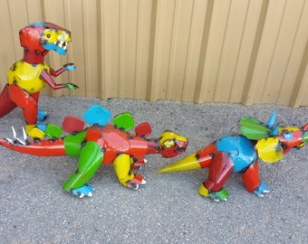 colorful metal dinosaurs