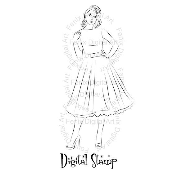 Digital Stamp,Clipart,Line art,Pin up Lady,Pin up girl,Fashion Girl graphics,Digi stamp,digistamp,Art Illustration INSTANT DOWNLOAD