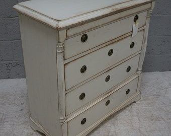 Vintage Continental Painted Pine Chest of Drawers