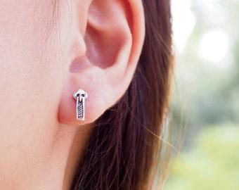 Pair of Zip Stud Earrings, Zipper earrings, 925 Sterling Silver, Cartilage stud, fun earrings - SA153