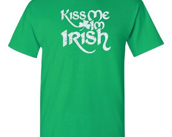 St. Patrick's Day, Kiss me Im Irish glitter t shirt, shirt, Saint Patrick's Day, Womens clothing