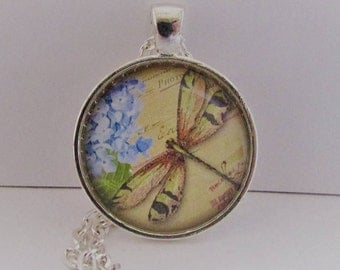 Glass Dragonfly Photo Pendant, Dragonfly Pendant, Dragonfly Necklace, Dragonfly Jewelry, Wearable Art Pendant, Birthday Gift for Her