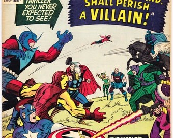 Avengers 15 comic, Captain America, Death of Zemo book, Thor, Iron Man, Giant Man, Wasp, Vintage Silver Age. 1965 Marvel Comics in FN (6.0)