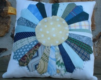 Small Blue Green and Yellow Dresden Plate Pieced Pillow